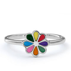 Hallmark Kids Sterling Silver Enamel Flower Ring