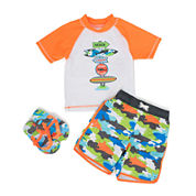 Wippette 3-pc. Shark Swim Trunk Set - Baby Boys newborn-24m