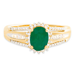 Womens Diamond Accent Red Emerald 10K Gold Cocktail Ring