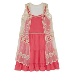 Knit Works Tiered Dress with Lace Vest - Girls' 7-16