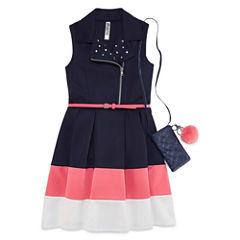 Knit Works Belted Color Block Dress Moto Vest - Girls' 7-16
