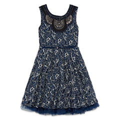 Knit Works All Over Lace Dress with Belt and Jewel Neck - Girls' 7-16