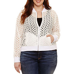 Boutique + Eyelet Bomber Jacket-Plus