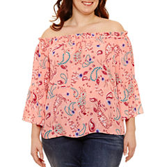 Boutique + 3/4 Sleeve Off the Shoulder Woven Blouse-Plus