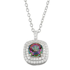 Simulated Mystic Topaz & Cubic Zirconia Sterling Silver Pendant Necklace