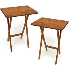 Bamboo Snack Set of 2 TV Tray Tables without Lip