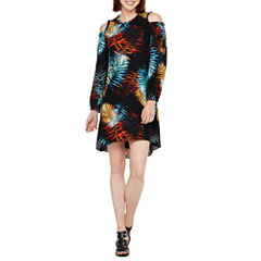 Worthington Long Sleeve Cold Shoulder Shift Dress