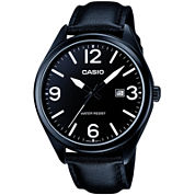Casio® Mens Black Leather Strap Watch MTP1342L-1B1