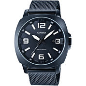 Casio® Mens Steel Gray Mesh Strap Watch MTP1350CD-8A1