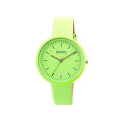 Crayo Womens Easy Mint Leather-Band Watch With Date Cracr2406