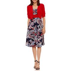 Perceptions Short Sleeve Jacket Dress-Petites