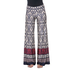 White Mark Damask Palazzo Pants