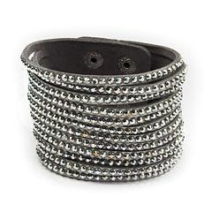 Arizona Silver-Tone Rhinestone Suede Bracelet