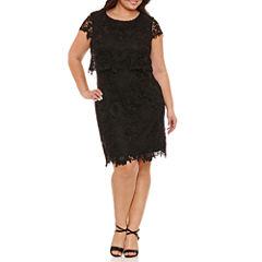 R & K Originals Short Sleeve Lace Sheath Dress-Plus