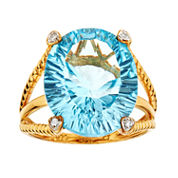 LIMITED QUANTITIES Oval Blue Topaz 14K Yellow Gold over Silver Ring