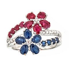 LIMITED QUANTITIES Sapphire and Lead-Glass Filled Ruby Sterling Silver Flower Ring