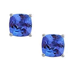 LIMITED QUANTITIES Genuine Cushion-Cut Tanzanite Sterling Silver Stud Earrings