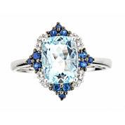 LIMITED QUANTITIES  Genuine Cushion-Cut Aquamarine and Blue Sapphire 14K White Gold Ring