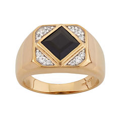 Mens Onyx & Lab-Created White Sapphire 14K Gold Over Silver Ring