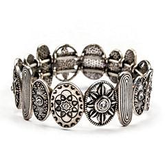 Arizona Crystal Textured Silver-Tone Stretch Bracelet
