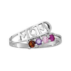 Personalized Sterling Silver Genuine  Birthstone Mom Ring