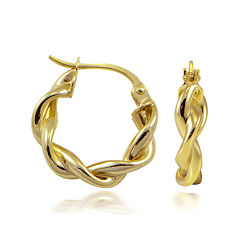 14K Yellow Gold Over Sterling Silver Double-Twist Hoop Earrings