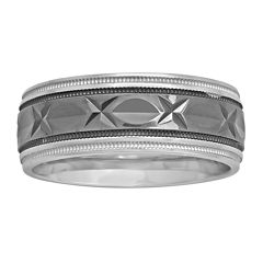 Mens 8mm Comfort Fit Diamond-Cut Two-Tone Sterling Silver Ring