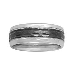 Mens 8mm Comfort Fit Two-Tone Sterling Silver Ring