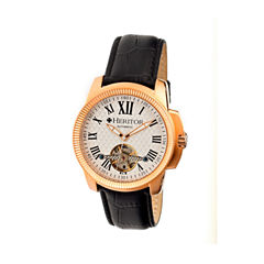 Heritor Automatic Franklin Mens Semi-Skeleton Leather-Rose Gold/Silver Watches