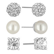 Vieste Rosa 3-pc. Simulated Pearl Silver-Tone Stud Earrings