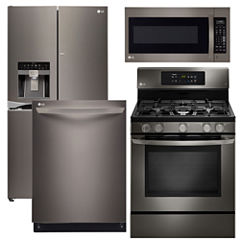 LG 4-pc. Gas Kitchen Package - Black Stainless Steel