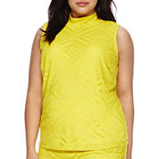 Bisou Bisou® Sleeveless Mock-Neck Diamond Lace Top - Plus