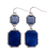 Gloria Vanderbilt® Silver-Tone Blue Double Drop Earrings