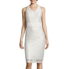 J. Taylor Sleeveless Metallic Texture V-Neck Sheath Dress