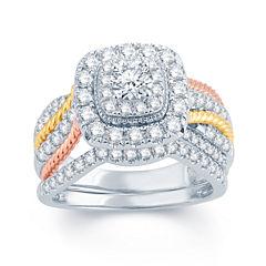 1 1/2 CT. T.W. Diamond 14K White, Yellow & Rose Gold Engagement Ring