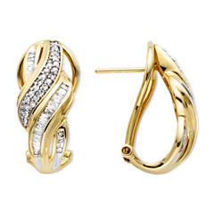 1/2 CT. T.W. Diamond 10K Yellow Gold Swirl Hoop Earrings