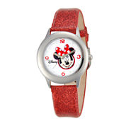 Disney Minnie Mouse Kids Crystal-Accent Glitter Red Leather Strap Watch