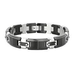 Mens Stainless Steel & Black IP Link Bracelet