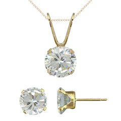 Girls Cubic Zirconia Pendant Necklace & Stud Earring Set