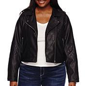 Arizona Faux Leather Moto Jacket - Juniors Plus