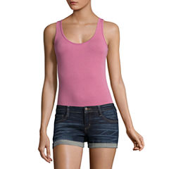 Flirtitude Sleeveless Scoop Neck Bodysuit-Juniors