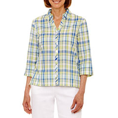 Alfred Dunner Corsica 3/4 Sleeve Button-Front Shirt-Petites