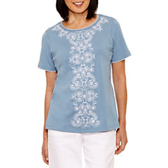 Alfred Dunner Blue Lagoon Short Sleeve Crew Neck T-Shirt-Womens