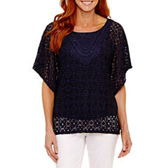 Lark Lane Elbow Sleeve Scoop Neck Blouse