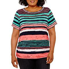 Lark Lane 0717 Must Haves Short Sleeve Boat Neck T-Shirt-Womens Plus