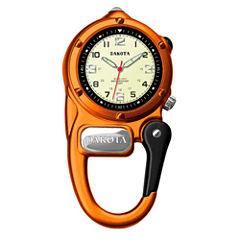 Dakota Mini-Clip Microlight Carabiner Pocket Watch, Orange