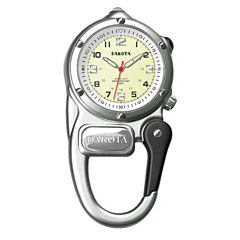 Dakota Mini-Clip Microlight Carabiner Pocket Watch, Silver