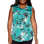 Liz Claiborne® Sleeveless Front-Pocket Popover Shirt - Plus