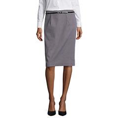 Worthington Sateen Belted Pencil Skirt Talls