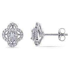 1 1/4 CT. T.W. Baguette White Diamond 10K Gold Stud Earrings